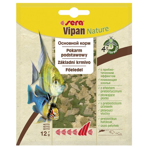 Sera VIPAN 12 гр, корм для рыб основной в хлопьях.