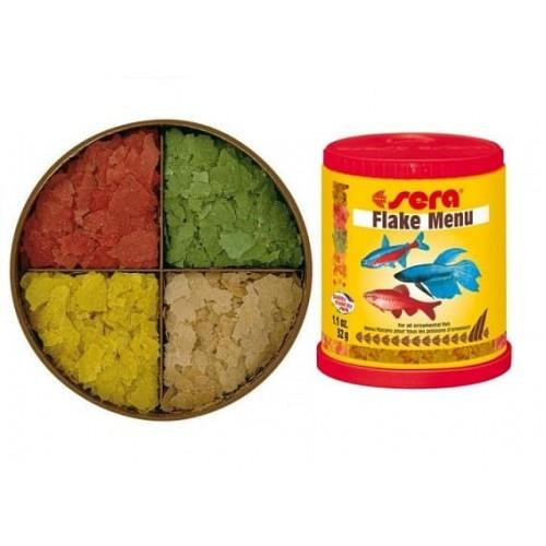 Sera Flake Menu, 150мл, (хлопья) набор разнообразных хлопьевидных кормов