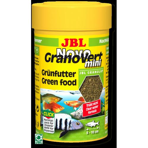 JBL NovoGranoVert mini - Корм в зеленых мини-гранулах для маленьких аквариумных рыб, банка с дозатором, 100 мл. (35 г.)