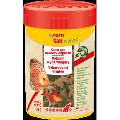 Sera SAN NATURE 100 мл 22 г Корм для рыб основной в хлопьях (улучшает окраску)