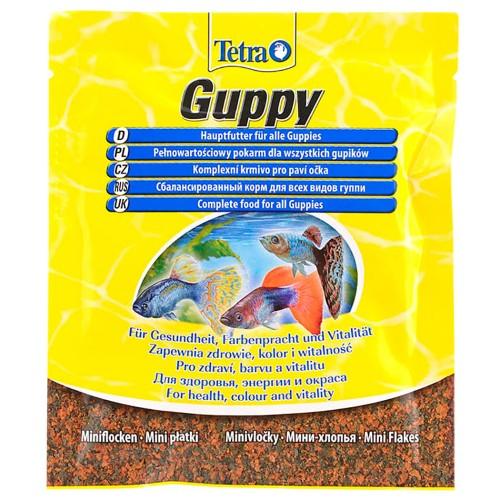 Tetra Guppy Mini Flakes 12г Корм для рыб пакет мини-хлопья основной для всех видов гуппи