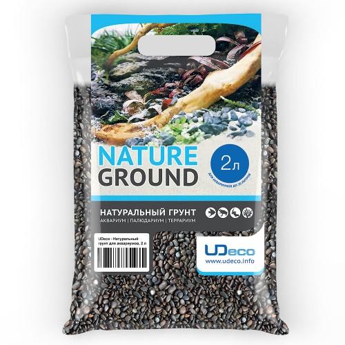 """UDeco River Dark - Натуральный грунт для аквариумов """"Тёмный гравий"""", 3-5 мм, 2 л"""